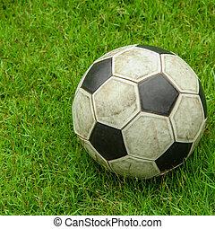 grønnes græs, soccer felt, hos, bold