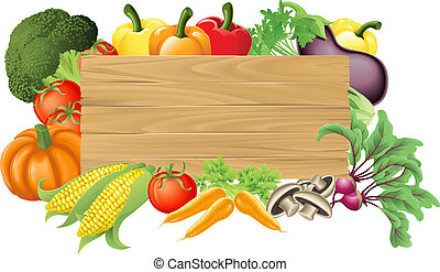 grønsag, af træ, tegn, illustration