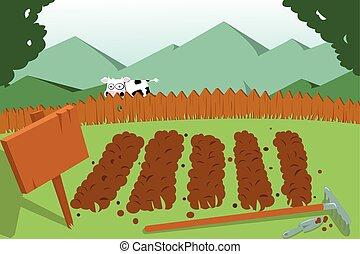 grønsag have, og, en, ko