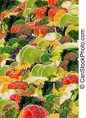grønsag, og, frugt, baggrund