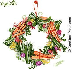 grønsag, ramme, skitse, by, din, konstruktion