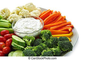 grønsager, dyppe.