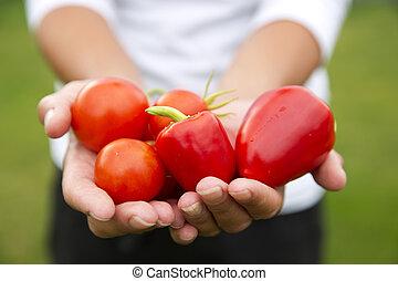 grønsager, hænder
