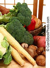 grønsager, ind, køkken