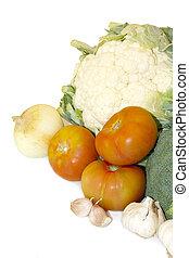 grønsager, isoleret, på hvide, baggrund