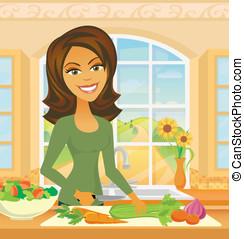 grønsager, kvinde, chopping, køkken
