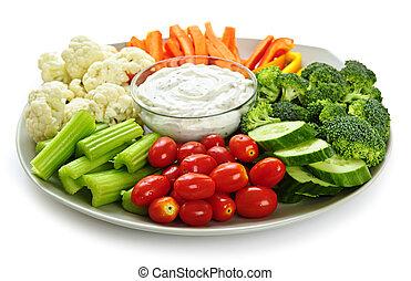 grønsager, og, dyppe.
