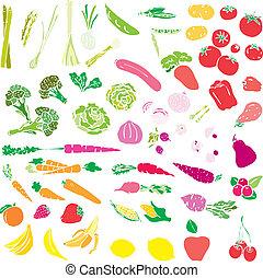 grønsager, og, frugt