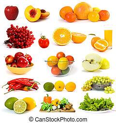 grønsager, og, frugter, samling