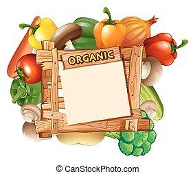 grønsager, omkring, den, af træ, tegn