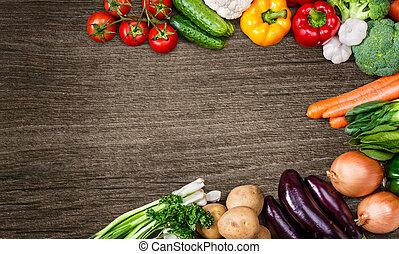 grønsager, på, træ, baggrund, hos, arealet, by, text.