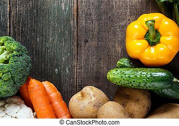 grønsager, på, træ, baggrund, hos, arealet, by, text., organisk, mad.