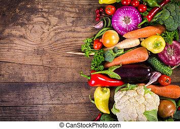 grønsager, på, træagtig tabel