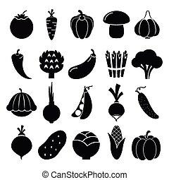 grønsager, silhuetter, iconerne