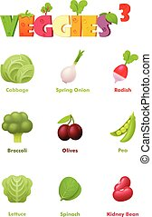grønsager, vektor, sæt, ikon