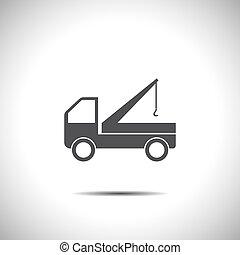 grúa, camión, icono