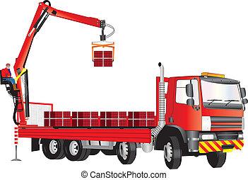 grúa, camión, rojo