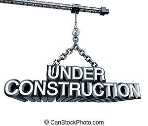 grúa, construcción, debajo
