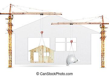 grúa construcción, elevación, hogar, y, casco de seguridad, blanco, plano de fondo, uso, para, industria de la construcción, y, residencia, bienes raíces, desarrollo de tierra