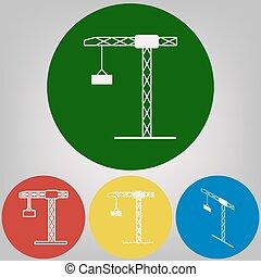 grúa construcción, signo., vector., 4, blanco, estilos, de, icono, en, 4, coloreado, círculos, en, gris ligero, fondo.
