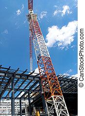 grúa construcción, y, el, edificio
