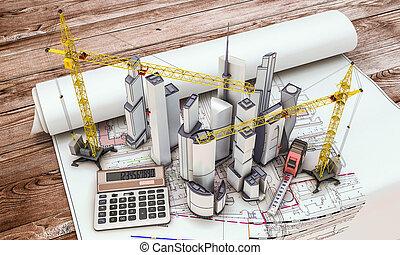 grúa de edificio, construcción, debajo
