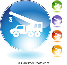 grúa, gancho, camión, cristal, icono