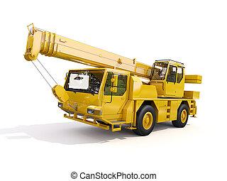 grúa, montado, camión