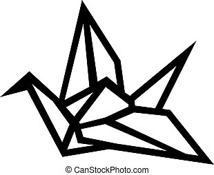 grúa, origami, contorno