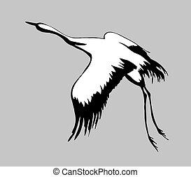 grúa, silueta, en, fondo gris, vector, ilustración