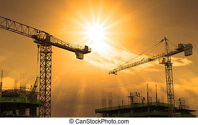 grúa, y, construcción edificio