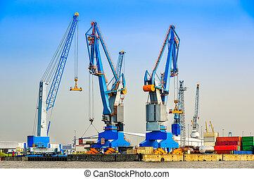 grúas, carga, grande, industrial, puerto