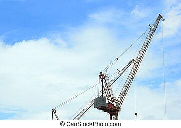 grúas, ingeniería, trabajo, arquitectónico, construcción