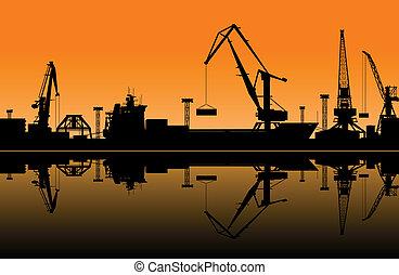 grúas, trabajando, puerto, mar
