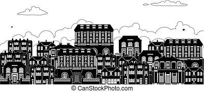 grúz, viktoriánus, épület, körvonal, utca, evez