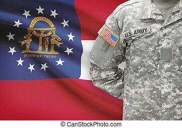 grúzia, -, állam, bennünket, katona, lobogó, háttér, amerikai