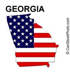 grúzia, usa, csíkoz, állam, tervezés, csillaggal díszít