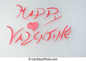 grüßen karte, für, tag valentines, mit, herz