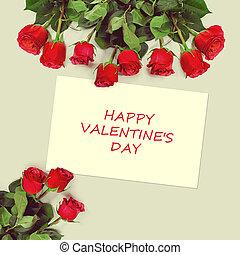 grüßen karte, mit, rote rosen