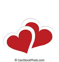 grüßen karte, mit, zwei herzen, karte valentines tages