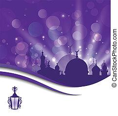 grüßen karte, schablone, für, ramadan, kareem