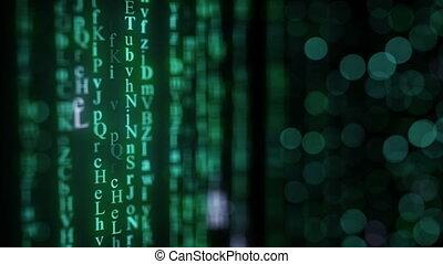 grün, alphabet, matrix, regen, auf, screen., seamless, schleife, animation.