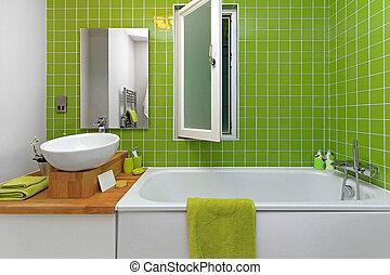 Badezimmer, grün. Badfliesen, grün, retro, klein Stockfotos - Suche ...