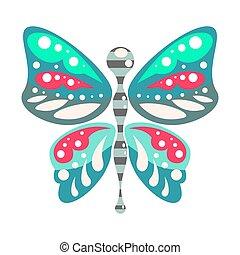 grün blau, karikatur, papillon, freigestellt, vektor, illustration.