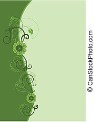 grün, blumenrahmen, design, 2