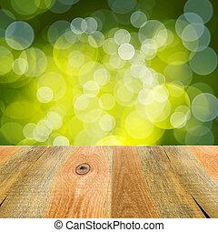 grün, bokeh, hintergrund, holztisch