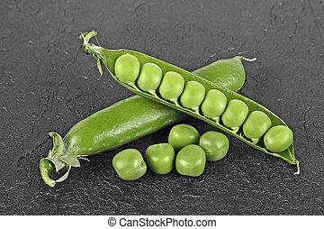grün, brett, schwarz, junger, erbsen