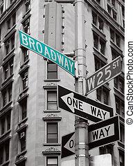 grün, broadway, zeichen