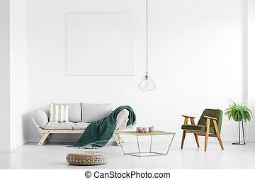 grün, decke, auf, sofa