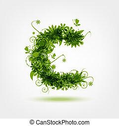 grün, eco, buchstabe c, für, dein, design